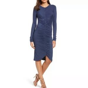 Leith Ruched Front Long Sleeve Dress Navy (98)